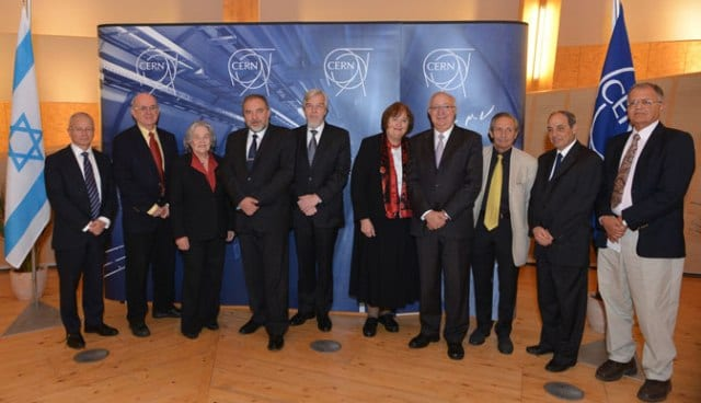 At the event - Left to right: Mr. Aharon Leshno-Yaar, Deputy Director General, UN and Int. Org, Division, MFA; Prof. Eliezer Rabinovici, Hebrew University, Scientific Representative to CERN; Prof. Ruth Arnon, President, The Israeli Academy of Science and Humanities; Mr. Avigdor Liberman, Deputy Prime Minister & Minister of Foreign Affairs of Israel; Prof. Rolf Heuer, Director-General of the CERN; Prof. Agnieszka Zalewska, President of CERN Council; Prof. Manuel Trajtenberg, Chairman, Planning and Budgeting Committee, Council for Higher Education; Prof. Giora Mikenberg, ATLAS Collaboration, Weizmann Institute, Israeli delegate to CERN Finance Committee; H.E. Eviatar Manor, Ambassador, Permanent Mission of Israel to the UN, Geneva. (Photo: Laurent Egli)