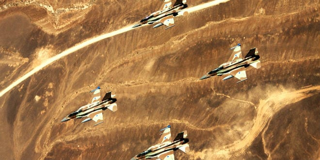 """""""Sufa"""" planes, also known as F-16I, flying in formation. (Photo: IDF)"""