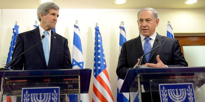 U.S. Secretary of State John Kerry and Israeli Prime Minister Benjamin Netanyahu discussing peace in the Middle East. (Photo: GPO)