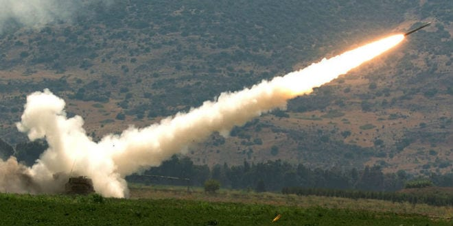 A rocket fired by a Multiple Launch Rocket System (MLRS) is launched against a Hezbollah target in South Lebanon August 12, 2006 from a forward base on the outskirts of the northern Israeli border. (Photo: Haim Azulay /Flash90)