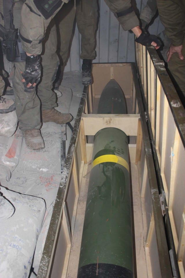 Missile found on Klos C. (Photo: IDF Blog)