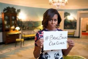 First Lady Michelle Obama's tweeted photo of herself holding a sign reading #BringBackOurGirls—pictured here—was the right thing to do, but it's a shame that it took three weeks for her tweet reacting to the Nigeria kidnapping crisis to arrive, writes Rafael Medoff. (Photo: Twitter)