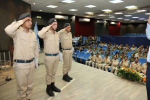 Saluting at the ceremony. (Photo: Hillel Maeir)