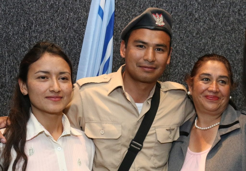Diego with his sister and mother. (Photo: Hillel Maeir)