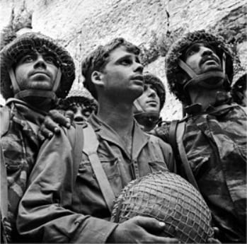 Israeli paratrooper's visiting the Western Wall after the liberation of Jerusalem in 1967.