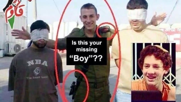 """Viral Palestinian image comparing abducted Israeli teen Naftali Frenkel with """"Big Brother"""" contestant Itai Wallach. (Photo: Facebook)"""