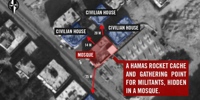 Declassified photo: Gaza terrorists used a mosque located near Palestinian homes as a place to hide rockets and gather militants. Our aircraft struck this mosque last night in order to disable Hamas from firing at Israel. Terrorist organizations systematically use mosques to conceal weapons and create underground tunnels within populated areas. (Photo: IDF)