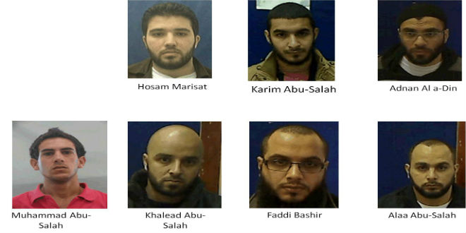 The 7 men arrested by the Shin Bet for forming an ISIS terror cell in Israel and planning to carry out attacks against the state. (Photo: Israel Security Agency)