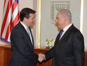Israeli Prime Minister Benjamin Netanyahu meets with Texas senator Ted Cruz at Netanyahu's office in Jerusalem on December 17, 2012. (Photo: Amos Ben Gershom/GPO/FLASH90)