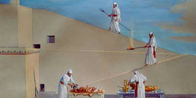 Rendering of the Jewish priests performing the ritual service on the altar in the Jewish Temple.