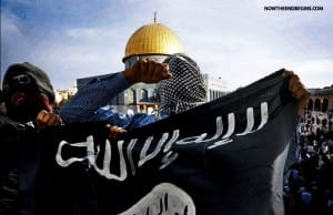 This photo has been making the rounds on social media showing the ISIS flag on the Temple Mount.