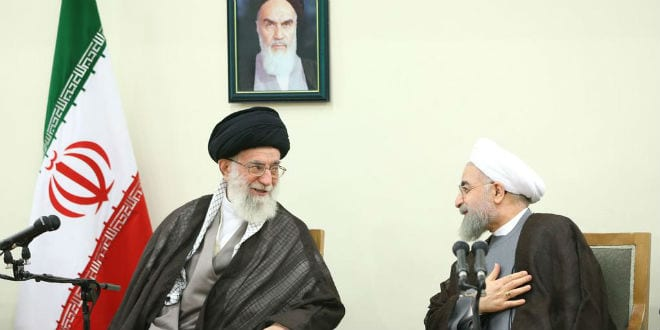 Iranian Supreme Leader Ayatollah Kahemnei and President Hassan Rouhani following the nuclear announcement. (Photo: Twitter)