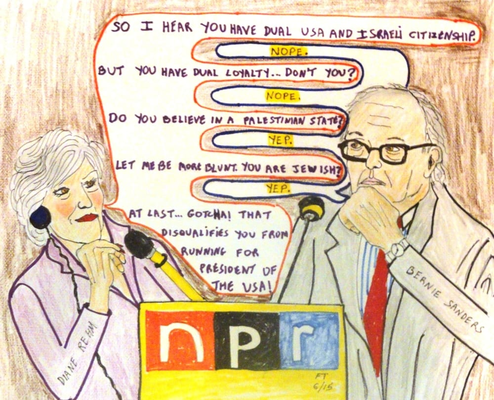 "A cartoon on the recent incident in which NPR host Diane Rehm incorrectly stated that Sen. Bernie Sanders has ""dual citizenship with Israel. (Photo: FeinTooner)"