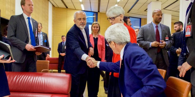 U.S. Secretary of State John Kerry shakes hands with Iranian Foreign Minister Javad Zarif as he prepares to leave the Austria Center in Vienna, Austria, on July 14, 2015, after the European Union, United States, and the rest of its P5+1 partners reached agreement on a plan to prevent Iran from obtaining a nuclear weapon in exchange for sanctions relief. (Photo: US State Department)