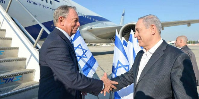 Benjamin Netanyahu greets former New York mayor and US billionaire Michael Bloomberg who flew to Israel during an FAA ban. (Photo: GPO)