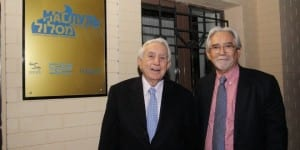 Harry O. Triguboff and Shalom Norman at the opening of the 'Maslul' program in Kiev last week. (Roman Vilensky / TPS)