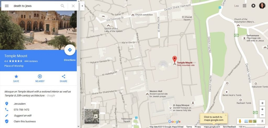 """Screenshot of a search result on Google Maps for """"Death to the Jews"""""""