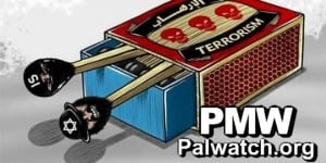 A cartoon on the Facebook page of the Palestinian Fatah faction that blames Israel for the Paris attacks. (Photo: Palestinian Media Watch.)