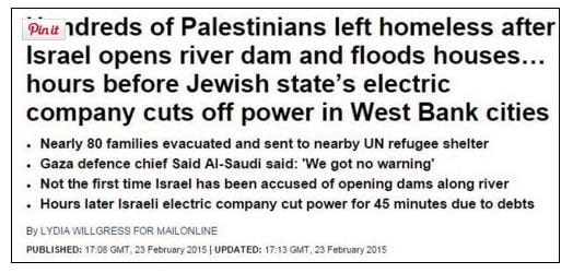 The Daily Mail's headline on its libelous article about Israel flooding Gaza. (Screenshot)