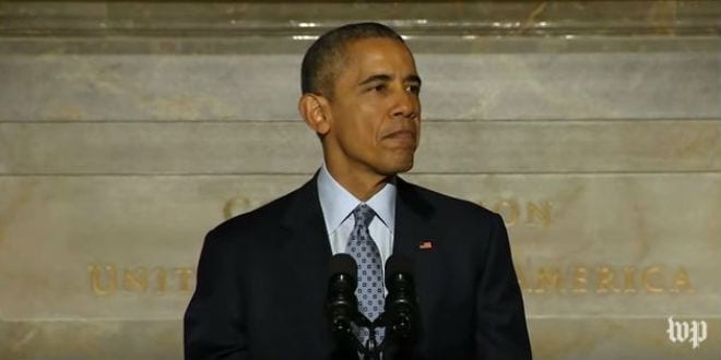 President Obama gives an address at a naturalization ceremony for 31 immigrants on Dec. 15, 2015. (Photo: YouTube Screenshot)