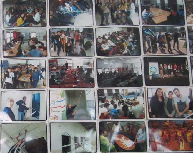 A photo collage in one of the youth buildings highlighting different events. (Photo: Breaking Israel News)