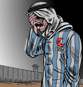 This image shared the second prize in the International Holocaust Cartoon Competition 2006. (Photo: Carlos Latuff/Wikimedia Commons)