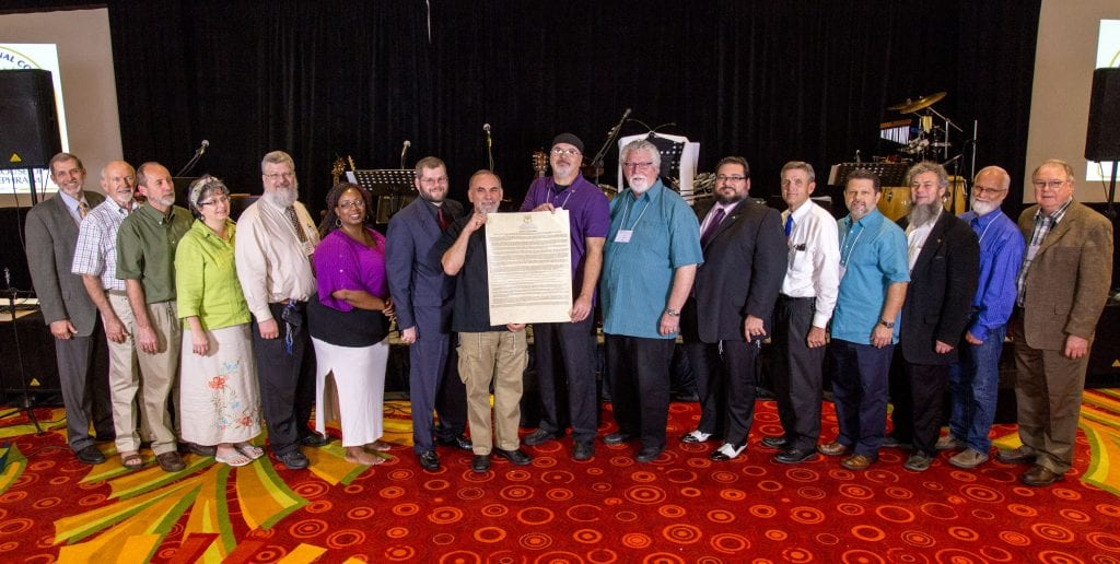Elders and Executives with the Articles at the B'ney Yosef Summit (Photo: Swen Halverson, B'ney Yosef North America)