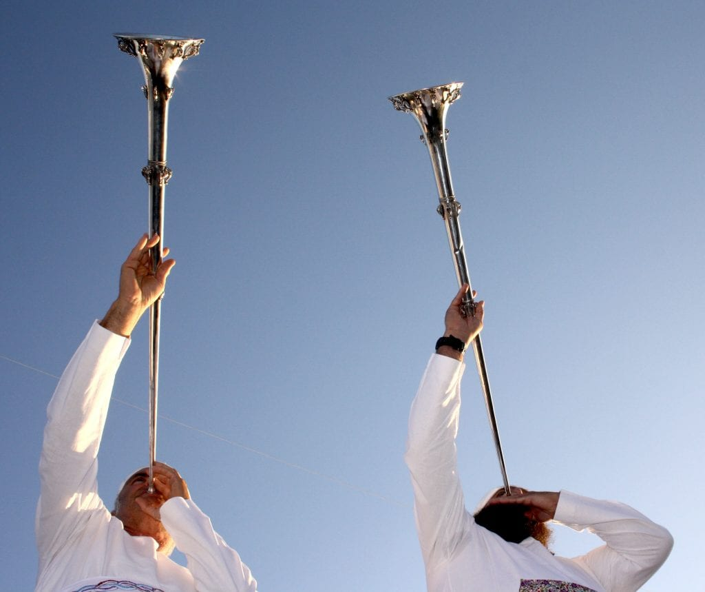 Kohanim blow silver trumpets made according to Biblical specifications. (Courtesy, United Mikdash Movements)