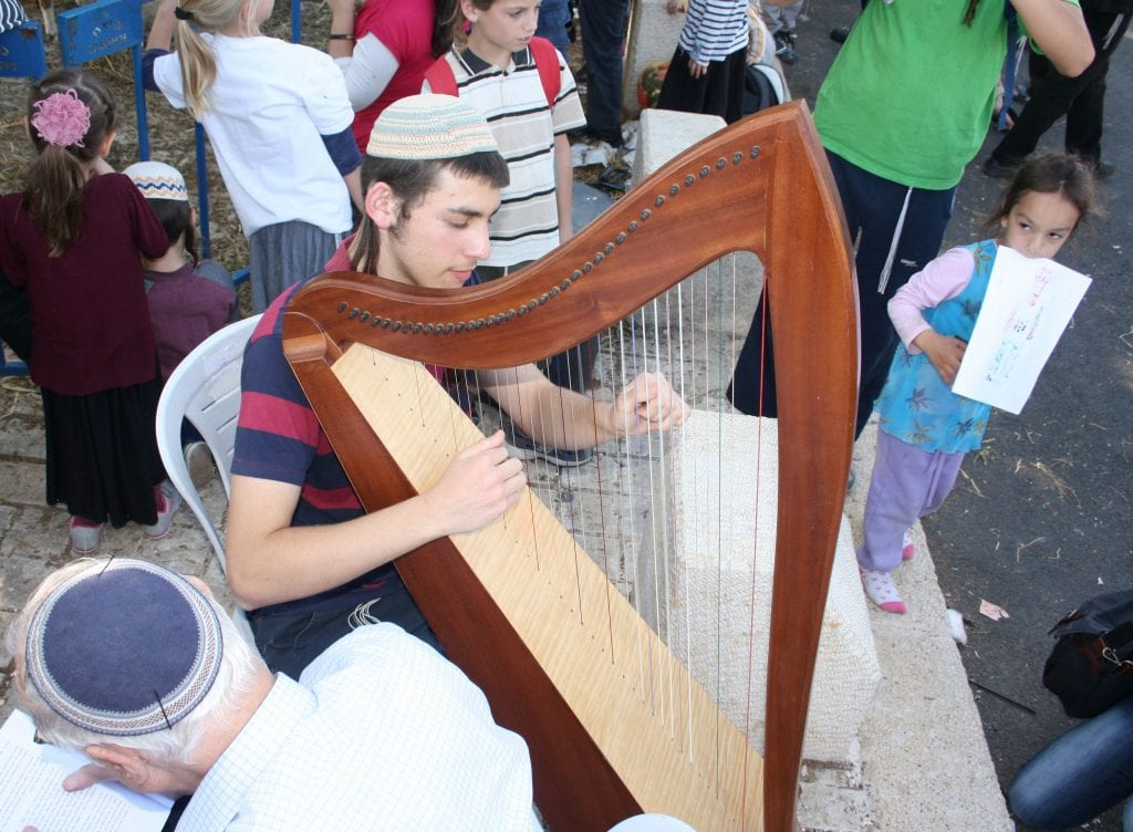 A musician plays a traditional Biblical instrument, the harp. (Adam Prop/Courtesy)