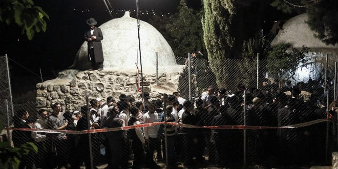 Thousands of Ultra Orthodox Jewish men entered the Palestinian village of Kif al Harat, in the West Bank, accompanied by Israeli soldiers, to pray at the tombs of Yehoshua Ben Nun and Kaleb Ben Yepune, on May 3, 2016. (Photo: Yaakov Naumi/Flash90)