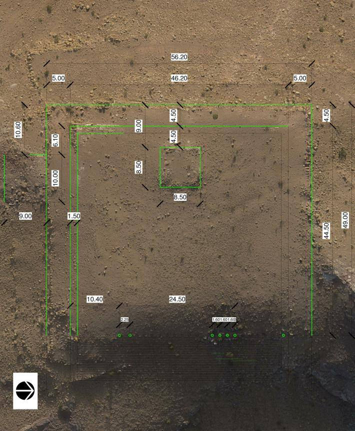 The area where the platform was discovered is mapped out and measured. (Photo: Facebook)