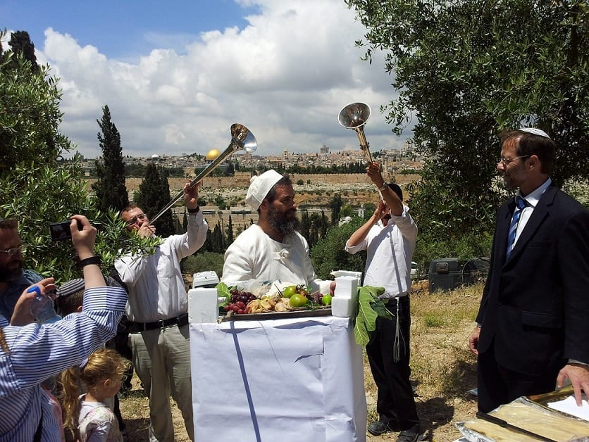 Kohanim (priests) blow Biblical trumpets in Jerusalem in preparation for Shavuot: the Festival of Weeks (Photo: Women for the Holy Temple)