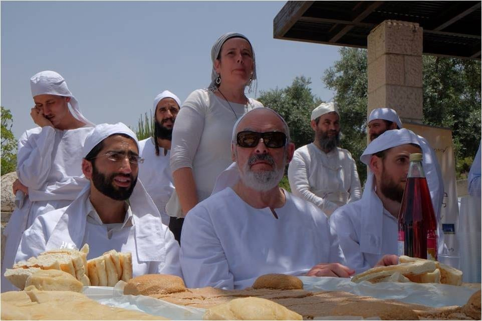 Kohanim (priests) partake of the Two Loaves ahead of Shavuot: the Festival of Weeks (Photo: Women for the Holy Temple)