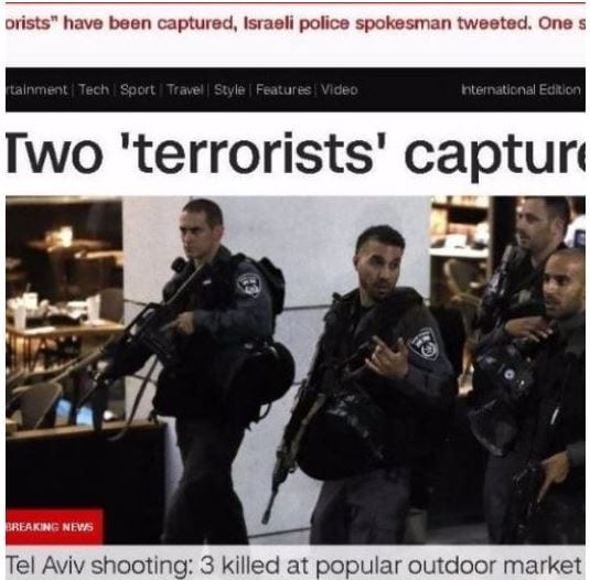"CNN put ""terrorists"" in quotes. (Web screenshot)"