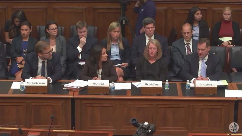 """Administration witnesses before the Subcommittee on Oversight and Investigations (Committee on Financial Services) hearing on """"Fueling Terror: The Dangers of Ransom Payments to Iran,"""" Sept. 8, 2016. (Screenshot)"""