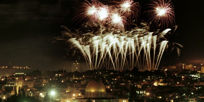 Fireworks seen over the Temple Mount and the Old City of Jerusalem. (Nati Shohat/Flash90)