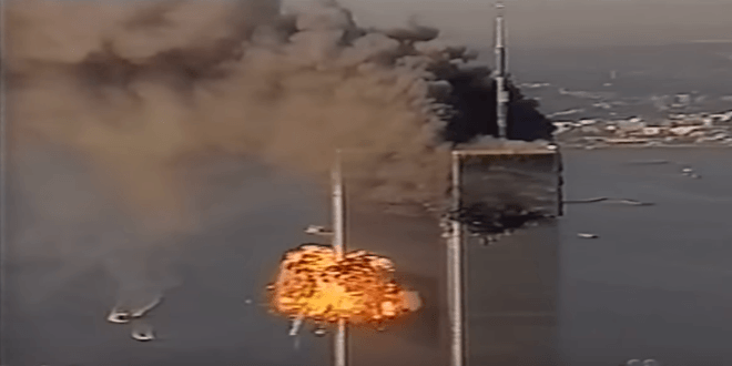 Footage of a hijacker's plane hitting the second Twin Tower on September 11, 2001. (NBC News Screenshot)