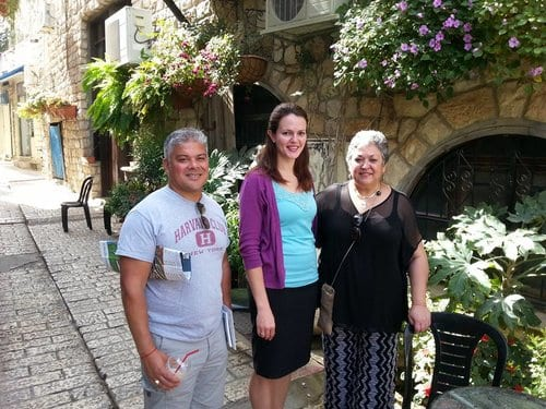 Sonya Loya (right) leads Bnei Anusim on a tour of the ancient Sephardic community of Safed. (Courtesy)