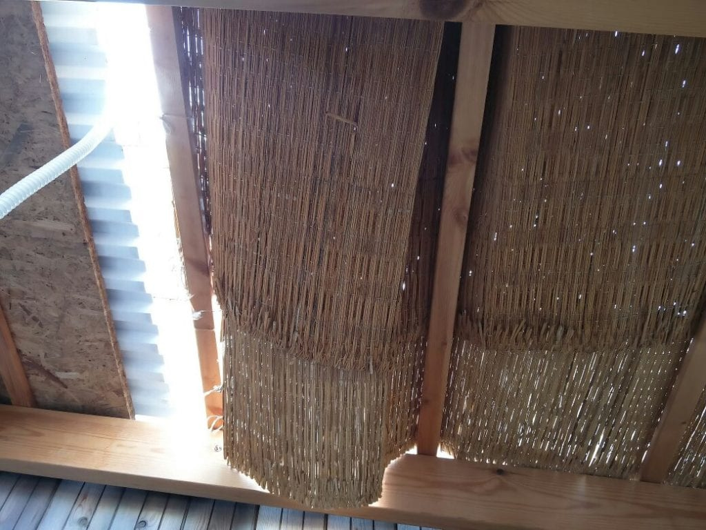 The roof of the sukkah where the 21-month-old baby fell on Tuesday. (Courtesy United Hatzalah)