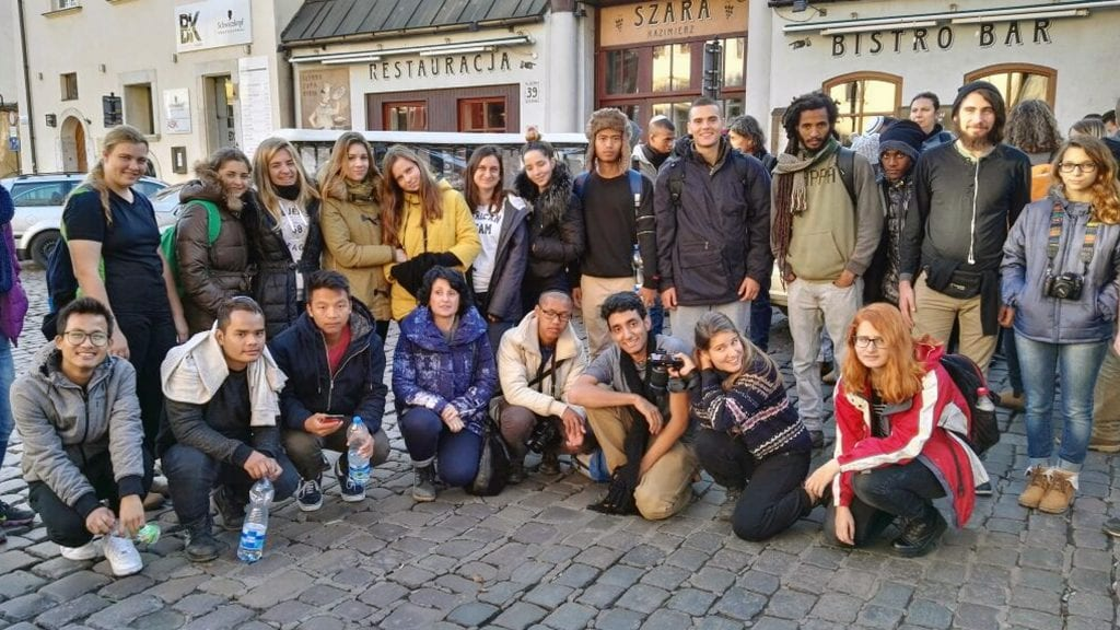 The members of the Bnei Menashe with their Israeli high school peers at the historically Jewish Szoroka Square in Krakow, Poland. (Courtesy Shavei Israel)