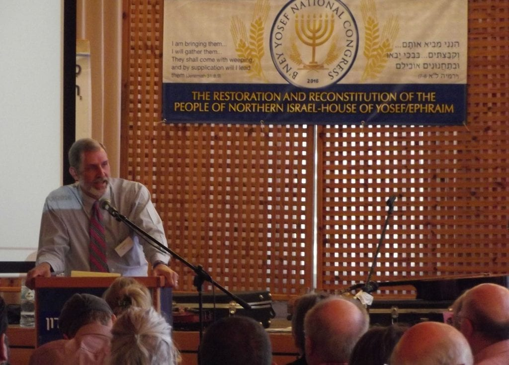 Bney Yosef's Director of Operations, Pete Rambo, addresses the congress. (Adam Eliyahu Berkowitz)